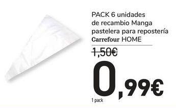 Oferta de PACK 6 unidades de recambio manga pastelera para repostería carrefour HOME por 0,99€