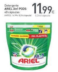Oferta de Detergente en cápsulas Ariel por 11,99€
