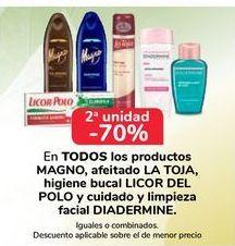 Oferta de EN TODOS los productos Magno, afeitado  La Toja, higiene bucal Licor del Polo y cuidado y limpieza facial Diadermine por