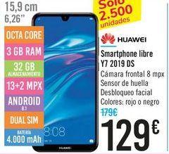 Oferta de Smartphone libre Y7 2019 DS HUAWEI por 129€