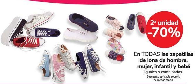 Oferta de En TODAS las zapatillas de lona de hombre mujer, infantil y bebé. iguales o combinadas  por