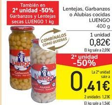 Oferta de Lentejas, Garbanzos o Alubias cocidas LUENGO por 0,82€