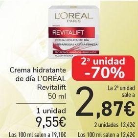 Oferta de Crema hidratante de día L'OREAL Revitaliuft  por 9,55€