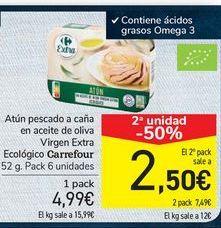 Oferta de Atún pescado a caña en aceite de oliva Virgen Extra Ecológico Carrefour por 4,99€