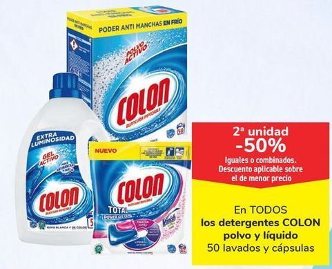 Oferta de En TODOS los detergentes COLON polvo y líquido, iguales o combinados  por