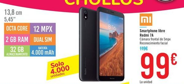 Oferta de Smartphone libre Redmi 7A por 99€