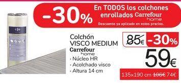 Oferta de Colchón Visco Medium Carrefour Home por 59€