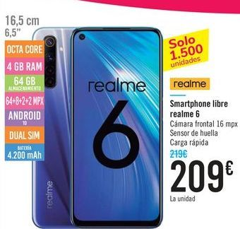 Oferta de Smartphone libre realme 6  por 209€
