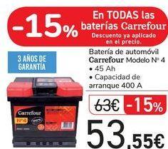 Oferta de Batería de automóvil Carrefour Modelon nº 4 por 53,55€