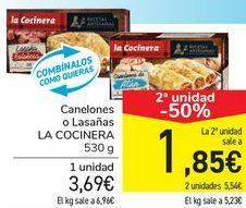 Oferta de Canelones o Lasaña LA COCINERA  por 3,69€