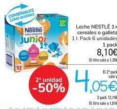 Oferta de Leche NESTLÉ 1+ cereales o galletas  por 8,1€