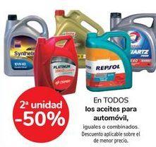 Oferta de En TODOS los aceites para automóvil, iguales o combinados  por