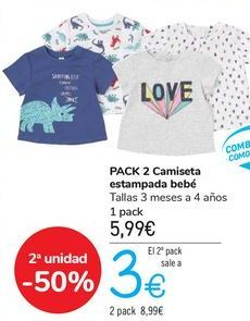 Oferta de PACK 2 Camiseta estampadas bebé  por 5,99€
