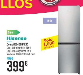 Oferta de Combi RB400N4EG2 Hisense  por 399€