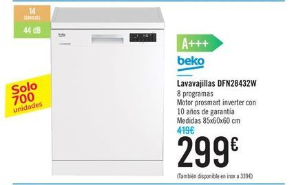 Oferta de Lavavajillas Beko DFN28432W por 299€