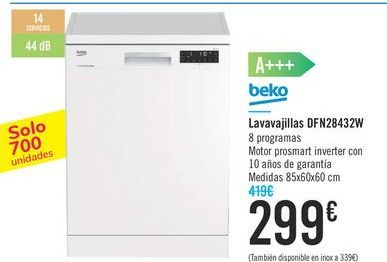 Oferta de Lavavajillas DFN28432W Beko  por 299€