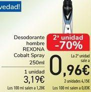 Oferta de Desodorantes hombre REXONA Cobalt Spray  por 3,19€