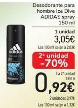 Oferta de Desodorante para hombre Ice Dive ADIDAS spray por 3,05€
