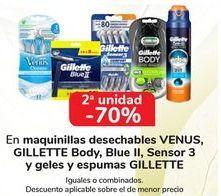 Oferta de En maquinillas desechables VENUS, GILLETTE Body, Blue II, Sensor 3 y geles y espumas GILLETTE, iguales o combinadas  por