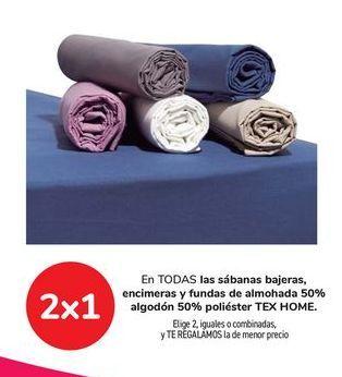 Oferta de En TODAS las sábanas bajeras, encimeras y fundas de almohada 50% algodón 50% poliéster TEX HOME, Elige 2, iguales o combinadas y TE REGALAMOS la de menor precio por