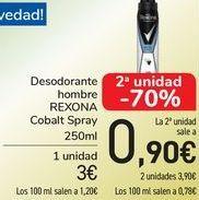 Oferta de Desodorantes hombre REXONA Cobalt Spray  por 3€