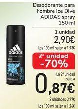Oferta de Desodorante para hombre Ice Dive ADIDAS spray por 2,9€