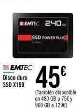 Oferta de Disco duro SSD X150 EMTEC  por 45€