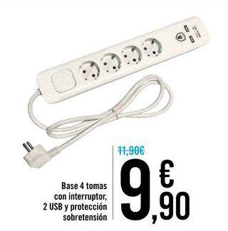 Oferta de Base 4 tomas con interruptor, 2 usb y protección sobretensión  por 9,9€