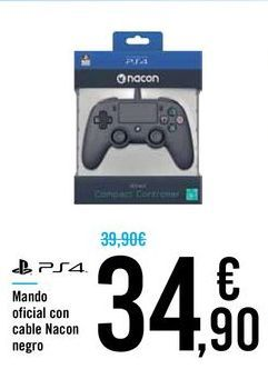 Oferta de Mando oficial con cable Nacon negro por 34,9€