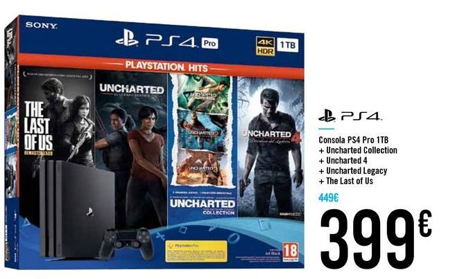 Oferta de Consola PS4 Pro 1TB por 399€
