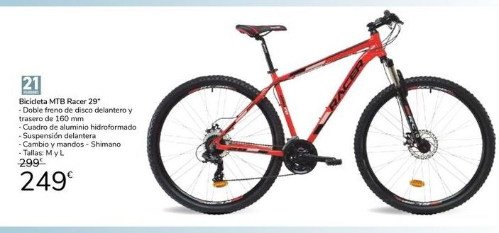 "Oferta de Bicicleta MTB Racer 29"" por 249€"