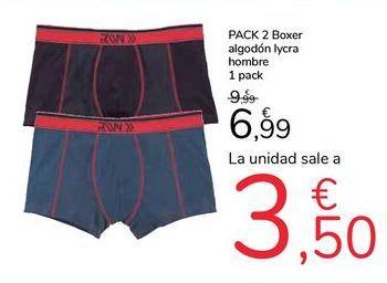 Oferta de PACK 2 Boxer algodón lycra hombre por 6,99€