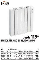 Oferta de Emisor térmico Ferroli por 119€