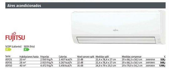 Oferta de Aire acondicionado Fujitsu por 528€