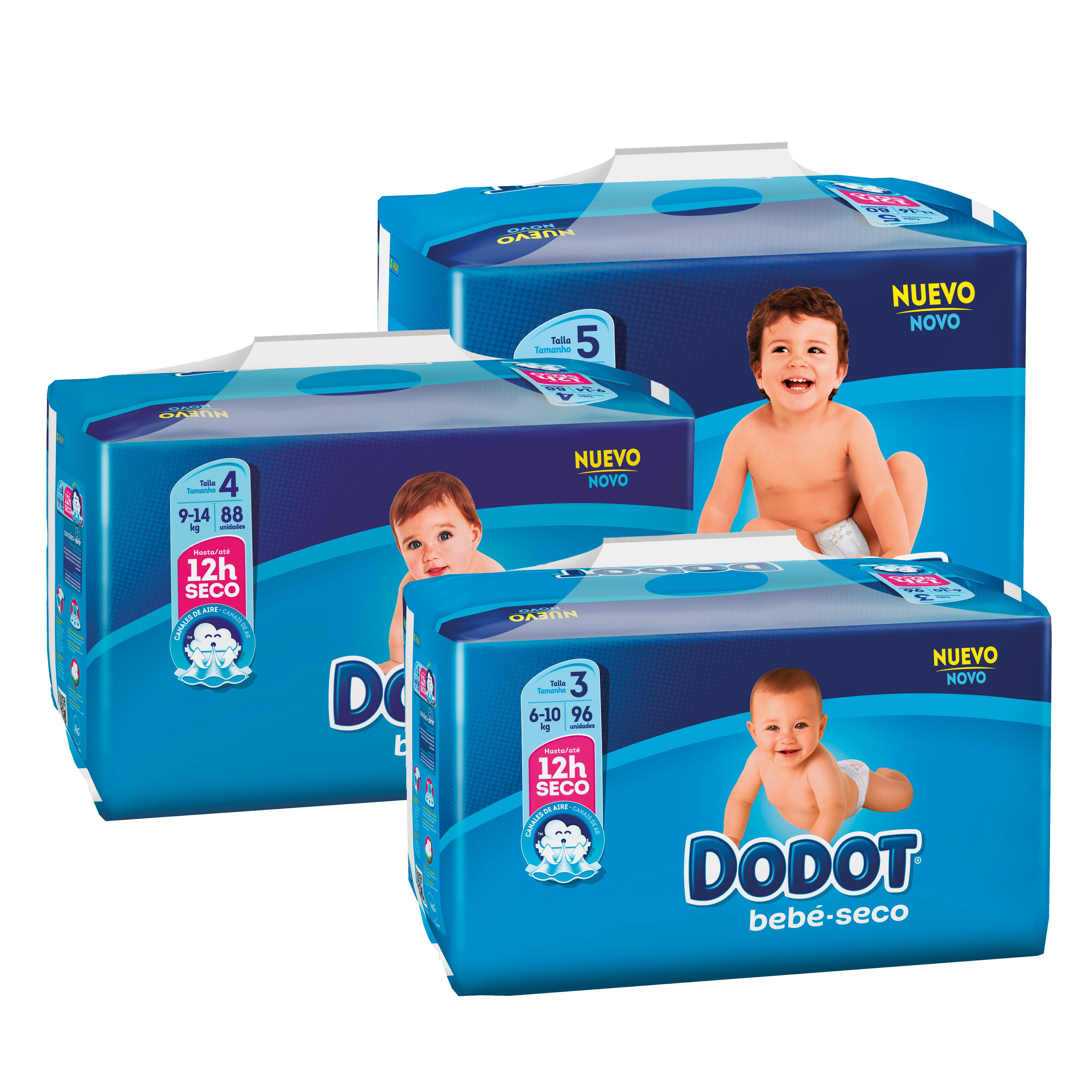 Oferta de DODOT AZUL Bolquers T3, 96 unitats, T4, 88 unitats i T5, 80 unitats por 19,98€