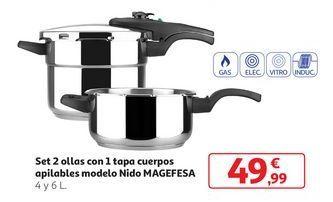 Oferta de Set 2 Ollas con 1 tapa cuerpos apilables modelo Nido Magefesa por 49,99€