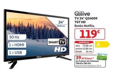 """Oferta de TV 24"""" Q24009 TDT HD Botón NETFLIX Qilive por 119€"""