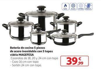 Oferta de Batería de cocina 5 piezas de acero inoxidable con 5 tapas vidrio Magefesa por 39,99€
