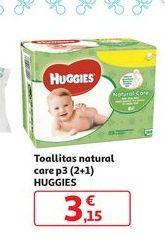 Oferta de Toallitas natural care p3 (2+1) Huggies por 3,15€