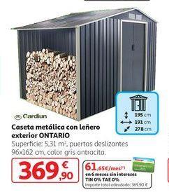 Oferta de Caseta metálica con leñero exterior Ontario por 369,9€