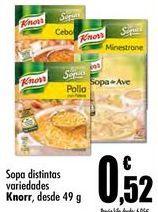 Oferta de Sopas, caldos y purés Knorr por 0,52€