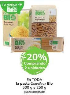 Oferta de En TODA la pasta Carrefour Bio 500 g y 250  por