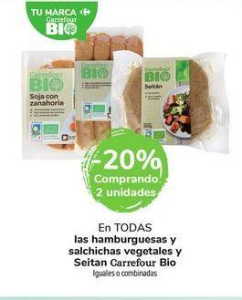 Oferta de En TODAS las hamburguesas y salchichas vegetales y Seitan Carrefour Bio Iguales o combinadas por