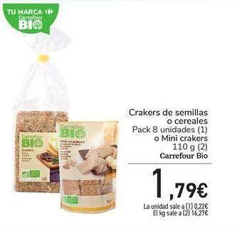 Oferta de Crakers de semillas o cereales Pack 8 unidades (1) o Mini crakers 110 g (2) Carrefour Bio por 1,79€