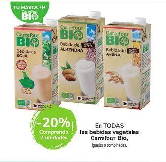 Oferta de En TODAS las bebidas vegetales Carrefour Bio, iguales o combinadas. por