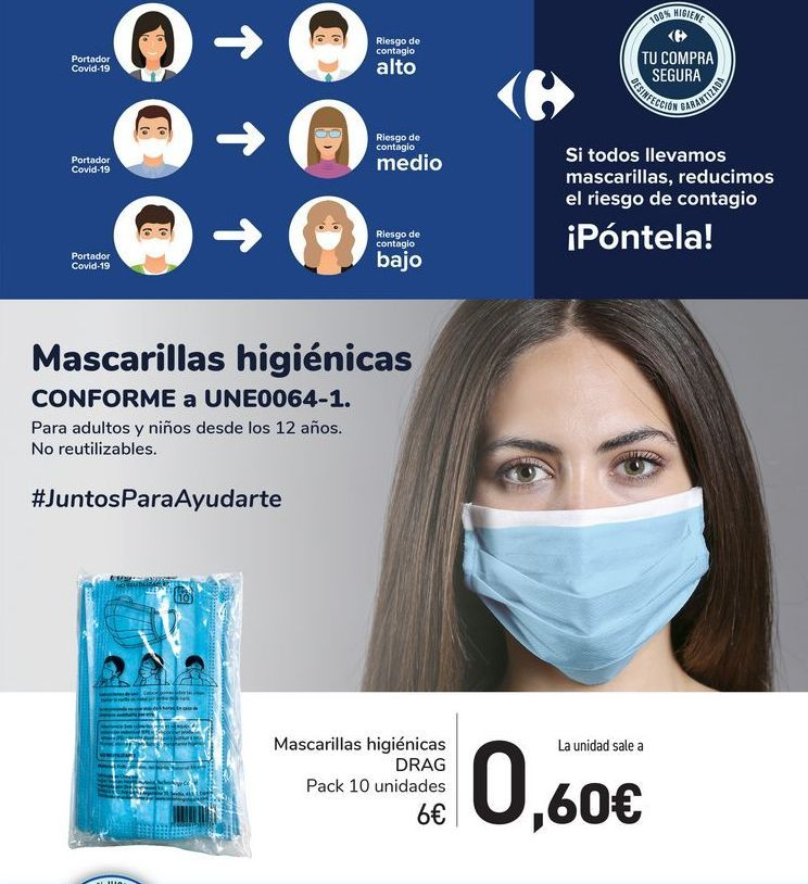 Oferta de Mascarillas higiénicas DRAG por 6€