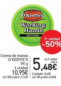 Oferta de Crema de manos O´KEEFFE´S por 10,95€