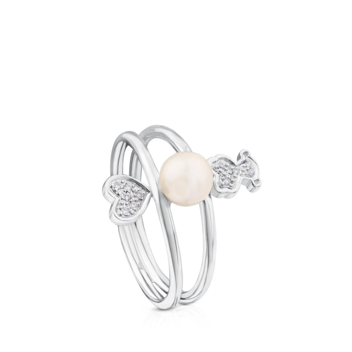 Oferta de Anillo Puppies de Oro blanco con Diamantes y Perla por 150€