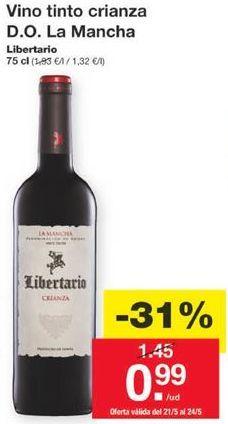 Oferta de Vino tinto crianza D.O. La Mancha por 0,99€
