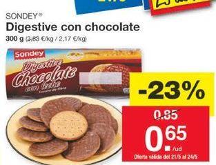 Oferta de Digestive con chocolate SONDEY por 0,65€